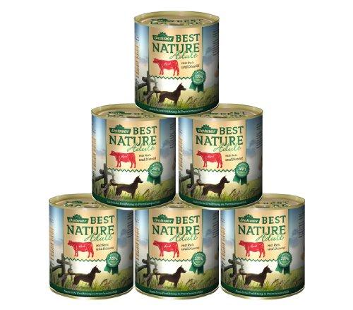 Dehner Best Nature Hundefutter, Adult Rind und Reis mit Distelöl, 6 x 800 g (4.8 kg)