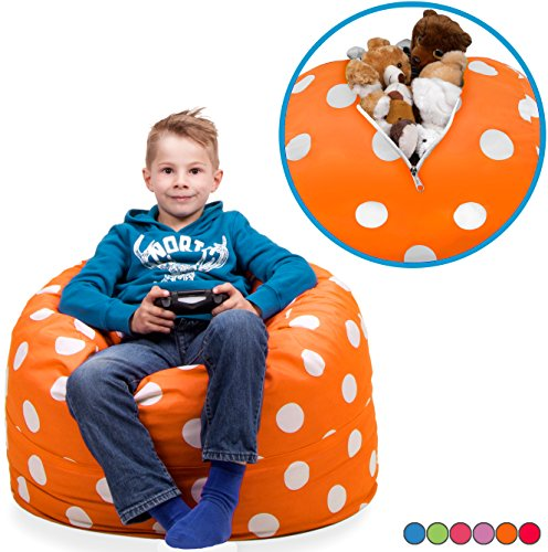 """Stuffed Animal Storage Bean Bag Chair in Vibrant Orange with White Polka Dots. FILL IT, ZIP IT AND SIT IN IT! Clean Up the Room in Style AND Get Yourself a Premium 95"""" Bean Bag Chair For Free!"""