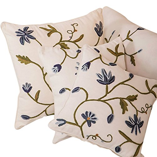 Crewel Pillow Cotton - Embroidery Floral Red Blue Flower Cotton Linen Square Throw Pillow Case Cushion Cover 18