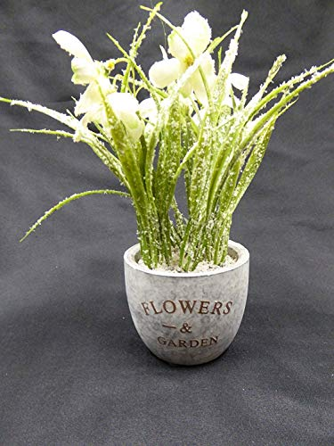 UK-Gardens Artificial Potted Plant – 22cm White Frosted Snowdrops in Grey Stone Pot – Stunning Houseplant