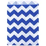 Dress My Cupcake 24-Pack Party Favor Bags, Chevron, Cobalt Blue