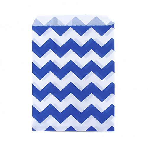 Dress My Cupcake 24-Pack Party Favor Bags, Chevron, Cobalt (Sweet 16 Candy Buffet)