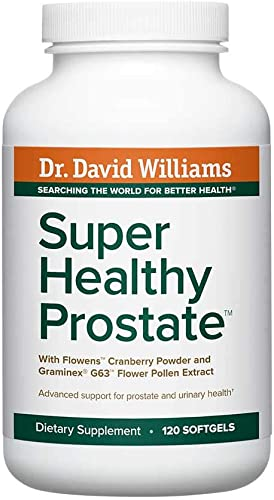 Dr. David Williams Super Healthy Prostate Promotes Healthy Prostate Tissue and Function and Normal Urinary Flow, 120 Softgels 30-Day Supply