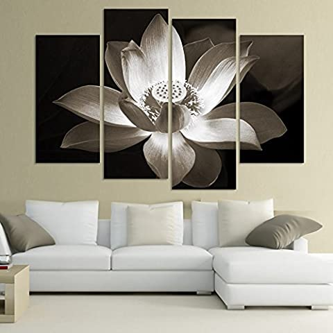 2017/ 4 Panel Modern Wall Art Home Decoration Printed Picture Flower Canvas Black White Simple Lotus - Nba Jazz Lamp