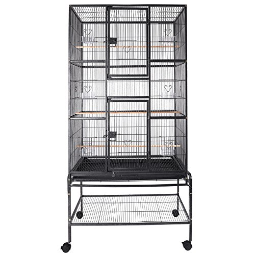 SUNCOO Large Bird Cage for Parrot Budgie Parakeet Cockatoo Cocatiel Iron Bird Aviary with Stand Pet Supply Black (69'' - Large Bird Cage Parrot