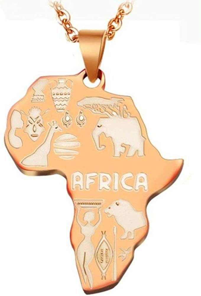 ZLAHY Collar Mapa de África Colgante Collar para Mujeres Hombres Joyería etíope Venta al por Mayor Mapas africanos Hiphop Collar Suministros
