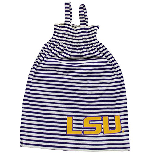 Glitter Gear LSU Tigers Official NCAA Striped Sleeveless Smocked Dress W/Large Logo. Fanatic 2 T by Glitter Gear