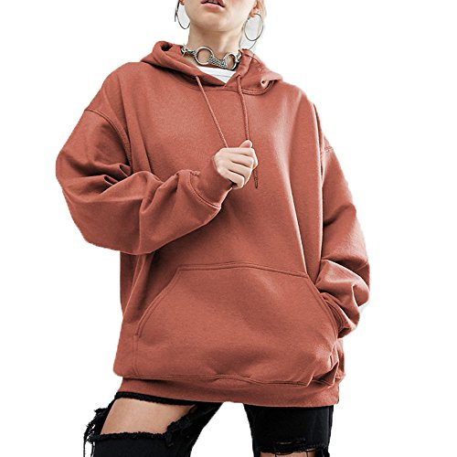 Menglihua Womens Fashion Plus Size Batwing Sleeve Oversized Pullover Sweatshirt Hoodies Orange Small