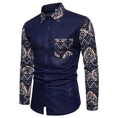 GREFER Men's 2018 Casual Long Sleeve Shirt Business Slim Fit Shirt Print Blouse Top