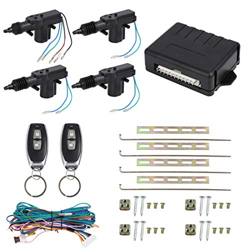 - X AUTOHAUX 4 Doors Central Lock Locking System Car Keyless Entry Kit with Actuator