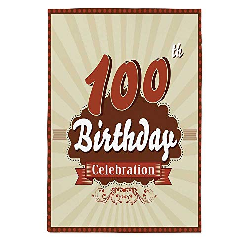 100th Birthday Decorations Polyester Tablecloth,Chocolate Wrap Like Brown Party Invitation Hundred Years for Wedding Banquet Restaurant,52''W X 70.1''L ()