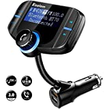 """Bluetooth FM Transmitter, ESOLOM Wireless Car Stereo Radio Adapter Bluetooth Receiver, Hands-free Calling Car Kit with 1.7"""" Display, Dual USB Ports QC3.0&Smart 2.4A, Support TF Card, AUX Input/Output"""