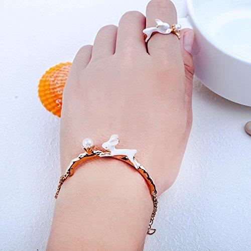 Lovely Bunny Ring Cute Rabbit Pattern Ring Women Jewelry bracelets Set Fashionable Charm Valentine's Gift Besooly (gold bracelets)