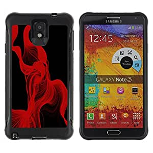 ZAAAZ Rugged Armor Slim Protection Case Cover Durable Shell - Red Lines Abstract - Samsung Note 3