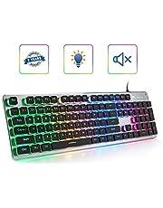 LANGTU L1 Membrane Gaming Keyboard Rainbow LED Backlit USB PC and Laptop Gamers Windows 104 Keys Anti-ghosting 24 Keys