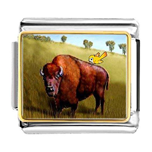 Pugster Bird - GiftJewelryShop Gold Plated Buffalo And Bird Bracelet Link Photo Italian Charm