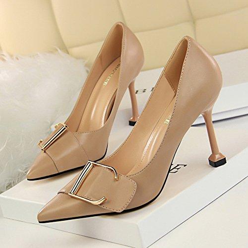 High Scoop Wild Apricot With Yellow heels Shoes Fine Autumn Yukun Shoes Single Women High Heel Girls dTdRPn