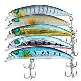 Discover Fish 2.5inch 0.15oz Fishing Lures Set Topwater Swimbait LifeLike Hard Artificial Crankbaits Bass Trout Muskie Minnow Sinking Terminal Tackle Baits with Treble Hooks for Freshwater Saltwater