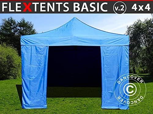 Dancover Carpa Plegable Carpa Rapida FleXtents Basic v.2, 4x4m Azul, Incl. 4 Lados: Amazon.es: Jardín