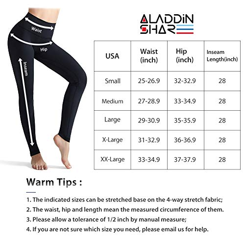 AladdinShare Workout Leggings for Women - High Waisted Ultra Soft Yoga Pants Tummy Control Compression with Pockets Black S
