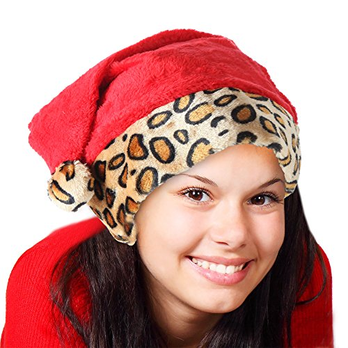 Home-X® Santa Hat with Leopard Print. Light Brown Trim with Leopard Spots