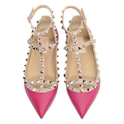 Comfity Pointu Orteil Rockstud Appartements Strappy Ballerine Chaussures Pêche