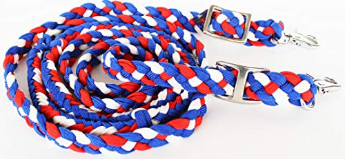 (PRORIDER Roping Knotted Horse Tack Western Barrel Reins Nylon Braided Red Blue Whit 60710)