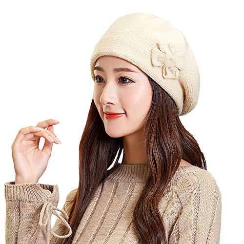Women Blouse, Ninasill Winter Warm Bow Cap Beret Braided Baggy Knit Crochet Beanie Hat Ski Cap(Beige,Free Size)