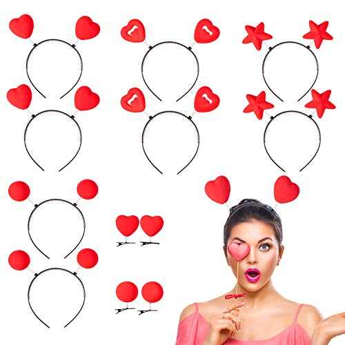 Whaline 12 Set Valentines Heart Headband Heart Headbopper Heart Antenna Bopper with Red Heart Hair Clips for Valentine's Day and Holiday Costume Party Accessory
