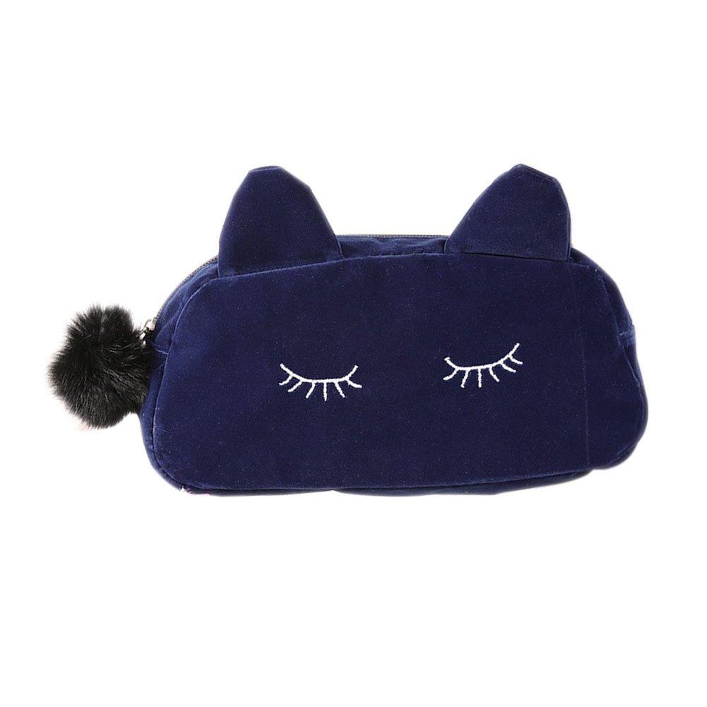 Dxlta Maquillage du chat de bande dessinée portable de stockage de pièces cas du randonnée de la flanelle sac de la cosmétique Noir