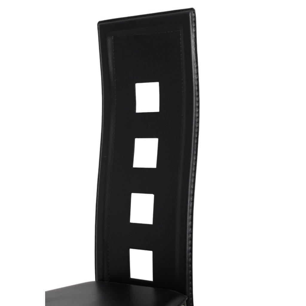Vidaxl 6x Chaise Similicuir Noir Dossier Haut Chaises De Salle A