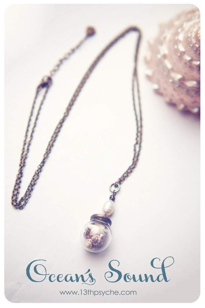 Orbe de cristal conchas collar, collar de Orbe, collar, colgante de concha, joyas de océano, colgante de la botella de vidrio, colgante verano: Amazon.es: ...