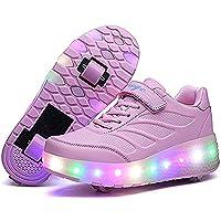 edv0d2v266 Adult Kids Shoes LED Flashing Roller Shoes Wheel Skates Girl Boy Invisible Glowing Pulley Skating Sneakers (Pink 2wheels 5.5 M US Big Kid = EU 38)