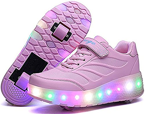 (edv0d2v266 Adult Kids Shoes LED Flashing Roller Shoes Wheel Skates Girl Boy Invisible Glowing Pulley Skating Sneakers (Pink 2wheels 4 M US Big Kid = EU)