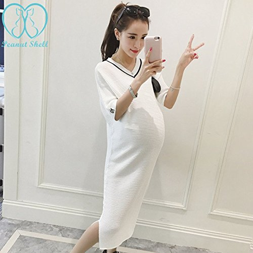 Blue Stones Summer V Neck Side Splits White Maternity Dress Elegant Maternity Clothes for Pregnant Women Black Pregnancy Clothing