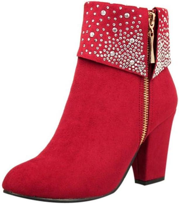 Logobeing Zapatos Mujer Tacones Botines Mujer Tacon Medio Planos Invierno Alto Botas de Mujer Casual Plataforma Nieve Ante Botas de Cordones Calientes Altas Boots(39,Rojo)