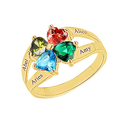 a266XDKSJK Personalized Mother Rings With Simulated Birthstones Engraved Promise Rings for Women Mother's Day Gifts(gold 3)