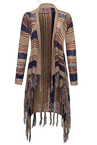 Fringed Waterfall Drape Open Front Sweater Cardigan Tops