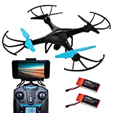 #6: Drone with Camera Live Video - U45W Blue Jay WiFi FPV Remote Control HD Camera Drones with 2 Batteries Altitude Hold - 1 Key Control VR RC Drone Quadcopter