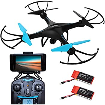 U45W Blue Jay Wi-Fi FPV Drone with Camera Live Video Capability - Force1 Drones with Camera Bundle: 1-Key Controls, Altitude Hold, Custom Route Mode, 720p HD Camera & BONUS Battery