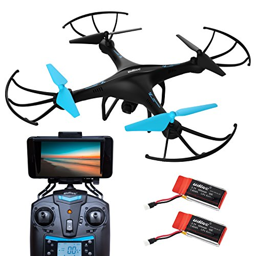 Drone with Camera Live Video – U45W Blue Jay WiFi FPV Remote Control HD Camera Drones with 2 Batteries Altitude Hold – 1 Key Control VR RC Drone Quadcopter