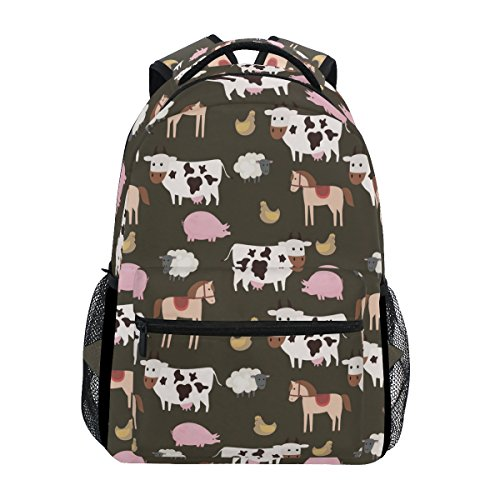 Farm Animals Printed Casual Laptop Backpack College School Bag Travel Daypack