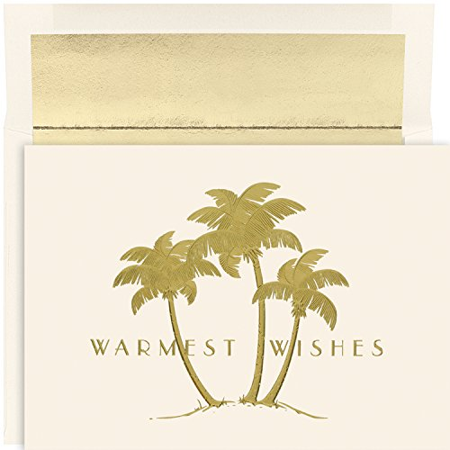 Masterpiece Warmest Wishes 18-Count Christmas Cards, Gold Palms