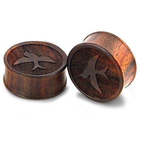 JewelryVolt Pair Organic Wood Laser Cut Sparrow Bird Design Ear Plug Gauges (11 Millimeters)
