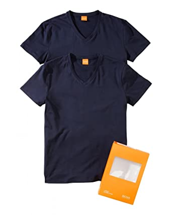 1bfac062 BOSS Hugo Orange Pack of Two T-Shirts, Navy Blue 'Tyll' V-Neck Tees:  Amazon.co.uk: Clothing