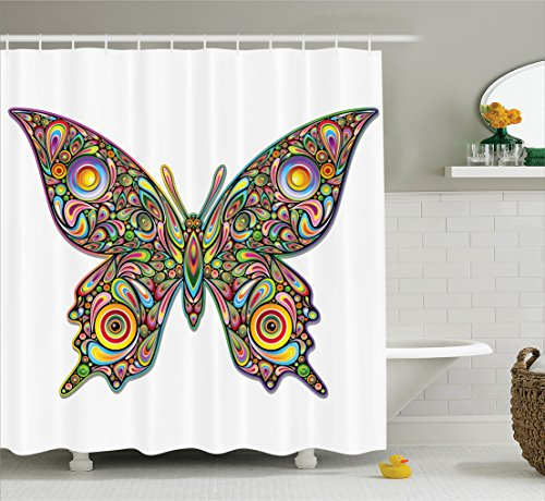 Ambesonne Butterflies Decoration Shower Curtain Set, Butterfly Psychedelic