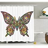 Ambesonne Butterflies Decoration Shower Curtain Set, Butterfly Psychedelic Art Design Wildlife Eyes Pattern Artistic Fashionable, Bathroom Accessories, 69W X 70L inches