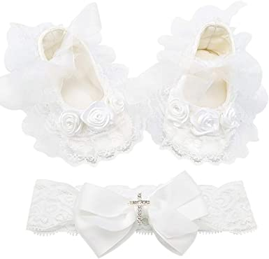 GIRLS CHRISTENING WHITE LACE ANKLE SOCKS-BAPTISM SILVER CROSS-SATIN RIBBON