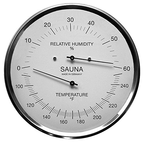 Fischer Sauna Thermometer (Fahrenheit) & Hygrometer 6.3 Inches, 195-01F - Made in Germany