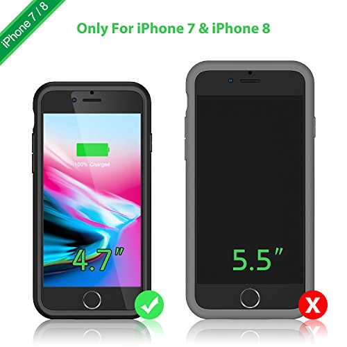 Large Product Image of iPhone 7/8 Battery Case, Swaller 3000mAh Portable Protective Charging Case for iPhone 7/8 (4.7 inch) Rechargeable Extended Battery Charger Case (Black)